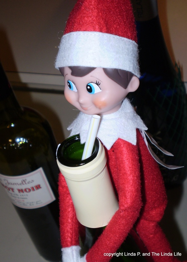 Elf on a Shelf on a wine