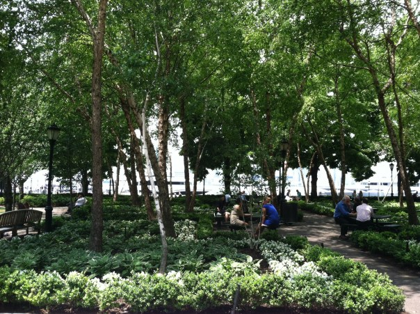 Park with boats on the Hudson