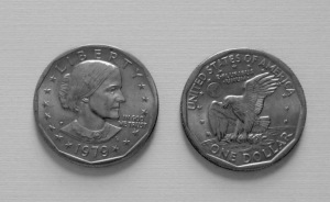 1979 Susan B. Anthony dollar coin. Copyright Linda P. and The Linda Life