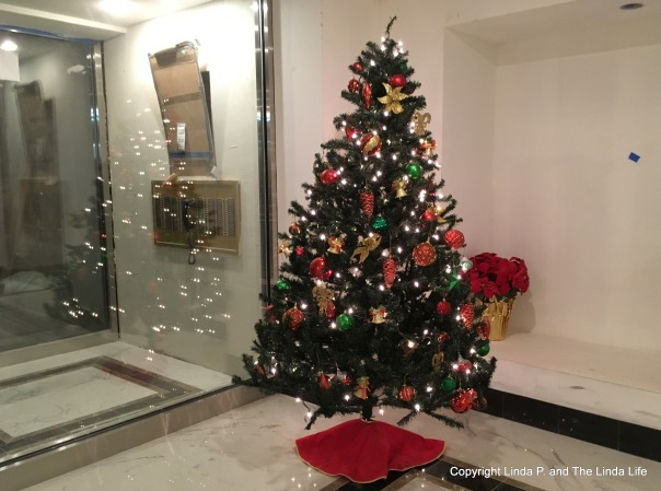 Christmas tree in a lobby under renovation