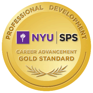 New York University SPS Gold Standard Badge for completion of the Blogging for Journalists course