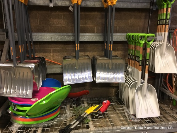 Snow shovels, ice scrapers and sleds at Home Depot in Rego Park.