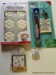 Wilton Snowflake-Shaped Marshmallow Cocoa Trimming Kit; Target fake snow; snowflake gift tags; snowflake pin