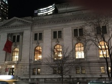 New York Public Library, main branch, at night on the 42 Street side.