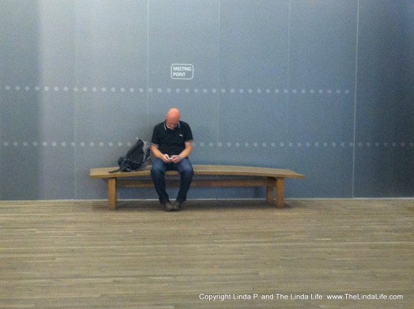 Waiting area at the Tate Modern, London , August 2012
