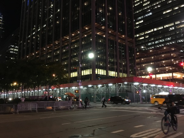 6 Avenue at West 50 Street facing northwest at the Time & Life Building 10-18-17