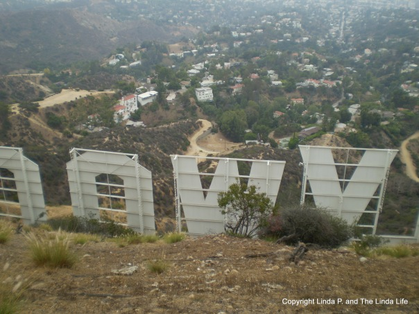 Above and behind the Hollywood sign in Los Angeles in September 2014