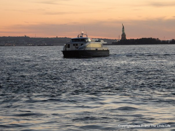 Statue of Liberty, Hudson River, Boat, New Jersey 10-11-16 TRANSFORMATION dusk sunset